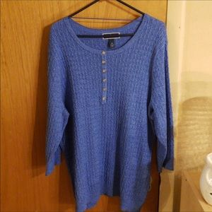Karen Scott / blue cable knit sweater, 3x